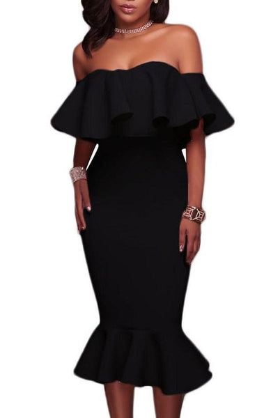 Fashion Onlinechoic Ruffle Off Shoulder Mermaid Knee-Length Little Black Dress