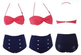 Retro Pin Up High Waisted Bow Bikini