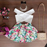 Off Shoulder Crop Top and Floral Mini Skirt Two Pieces Dress Suit