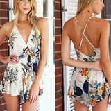 Strap V-Neck Flower Print Mini Short Jumpsuit