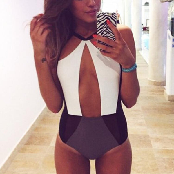 Strap Hollow Splicing Color Swimsuit One Piece Swimwear