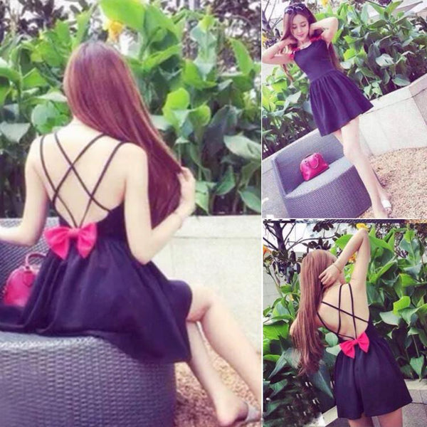 Backless Bow Tie Solid A-Line Strap Mini Dress