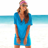 Casual Stretch Batwing Sleeves Soft Drape Mini Dress