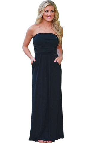 Fashion Solid Black Strapless pockets Maxi Dress