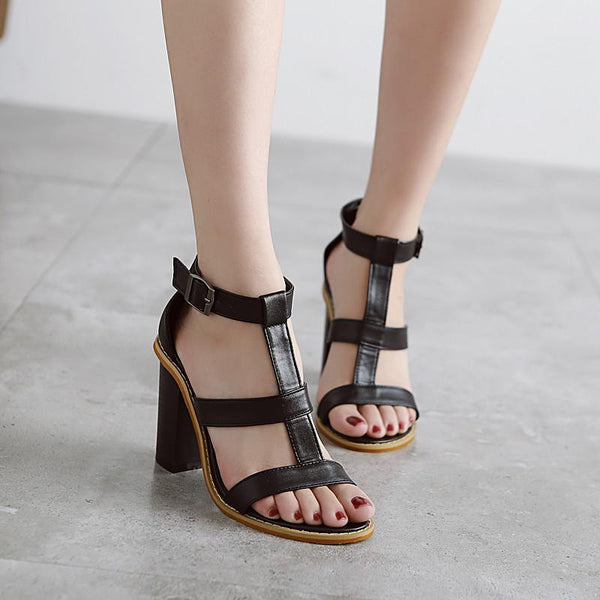 Roman T Strap Hollow Out Buckles Peep-Toe Sandals
