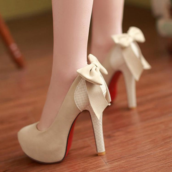 Sexy Bowknot Round Head Splicing High Heels