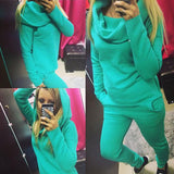 Long Sleeves Hoodie Top Pants Pure Color Two Pieces Set