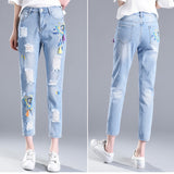 Embroidery Rough Holes 9/10 Pencil Skinny Jeans