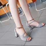Open Toe Ankle Beadings Decoration Middle Chunky Heel Sandals