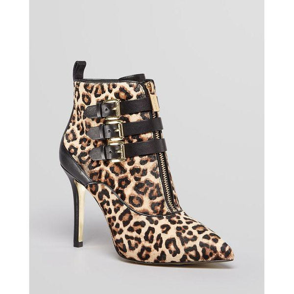 Leopard Pointed Toe Zipper Stiletto High Heels Short Boots