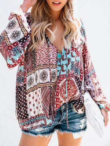 Floral-Print Long Sleeve V Neck Bohemia T-Shirt Tops