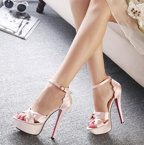 Elegant Peep-Toe Silk High-Heeled Club Sandals
