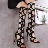 Cut Out Open Toe Stiletto High Heels Knee Boot Sandals
