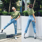 Hip Cut Out Hole Curled Skinny Long Jeans Denim Pants