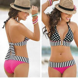 Flower Print Halter Cross Wrap Low Waist Bikini Set Swimwear