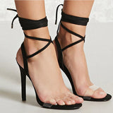 Transparent Open Toe Ankle Wraps High Stiletto Heels Sandals