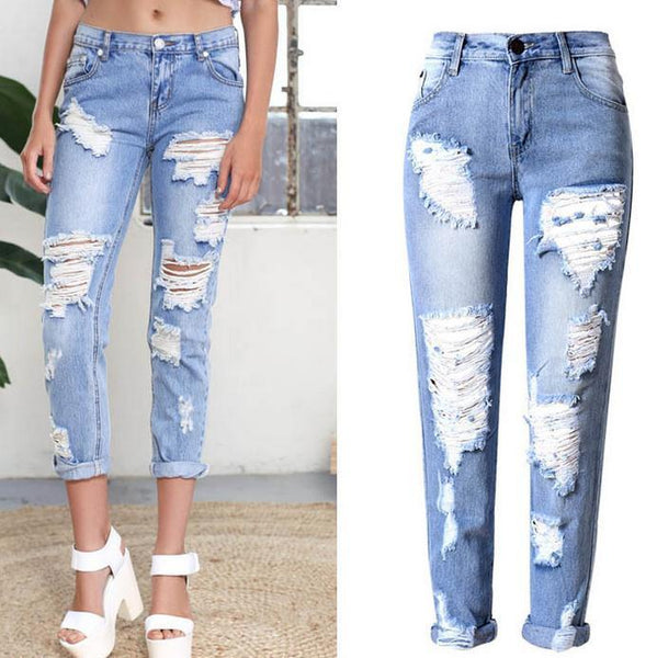 Holes Ripped Straight Slim Beggar Plus Size Jeans