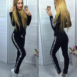 Pure Color Zip Letter Hoodie with Skinny Pants Two Pieces Sports Set