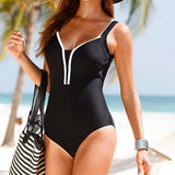 Plus Size V-neck Padded One Piece Swimwear
