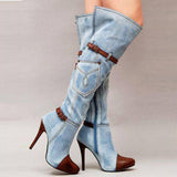 Denim Pointed Toe Patchwork Stiletto High Heels Knee-length Long Boots