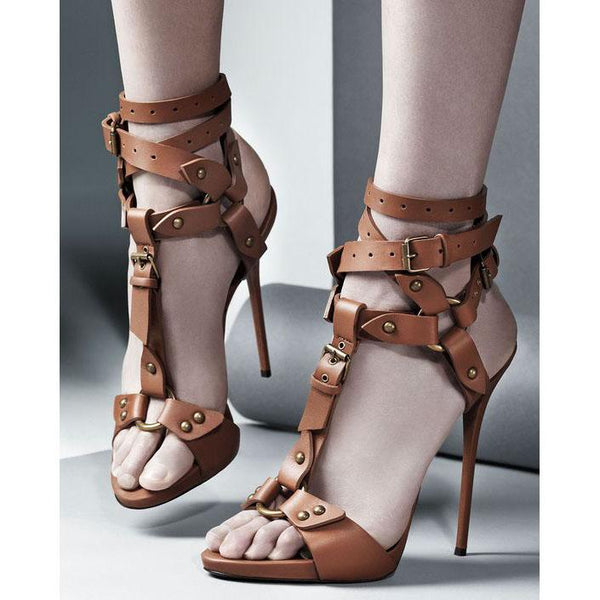 Rivets Straps Wraps Open Toe Stiletto High Heels Sandals