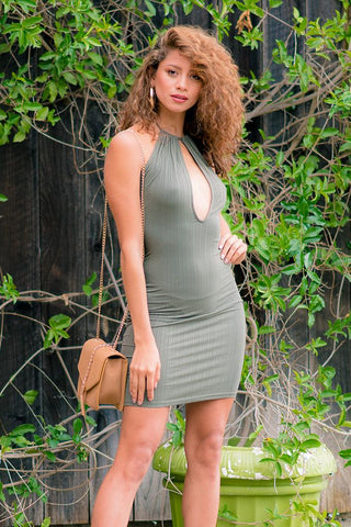 Women's Halter Key Hole Mini Dress