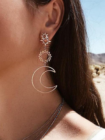 Fashion Retro Hollow Star Moon Sun Alloy Earrings