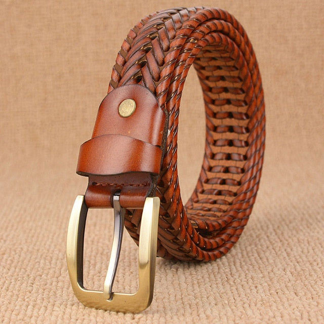 Hand Knitted Genuine Leather Men's Belt - Supersoka