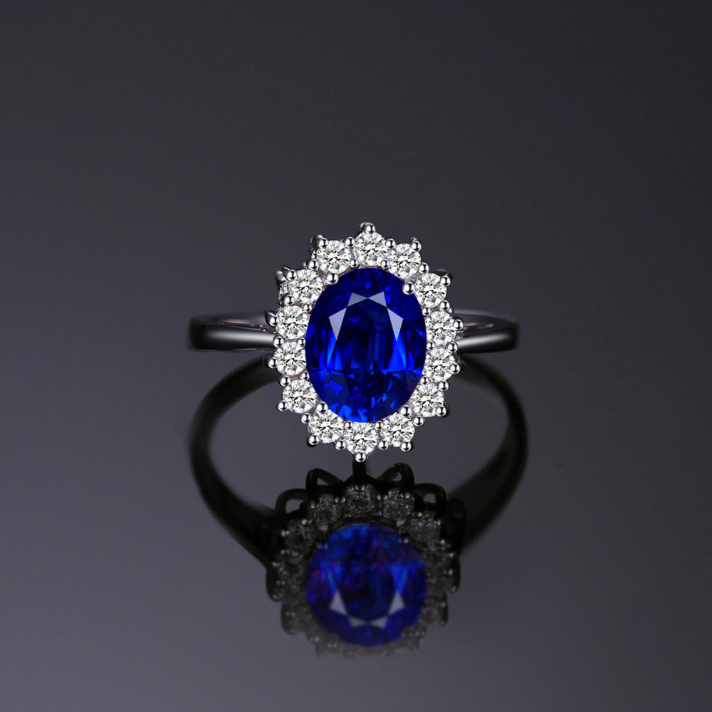 3.2ct Sapphire Sterling Silver Ring - Supersoka