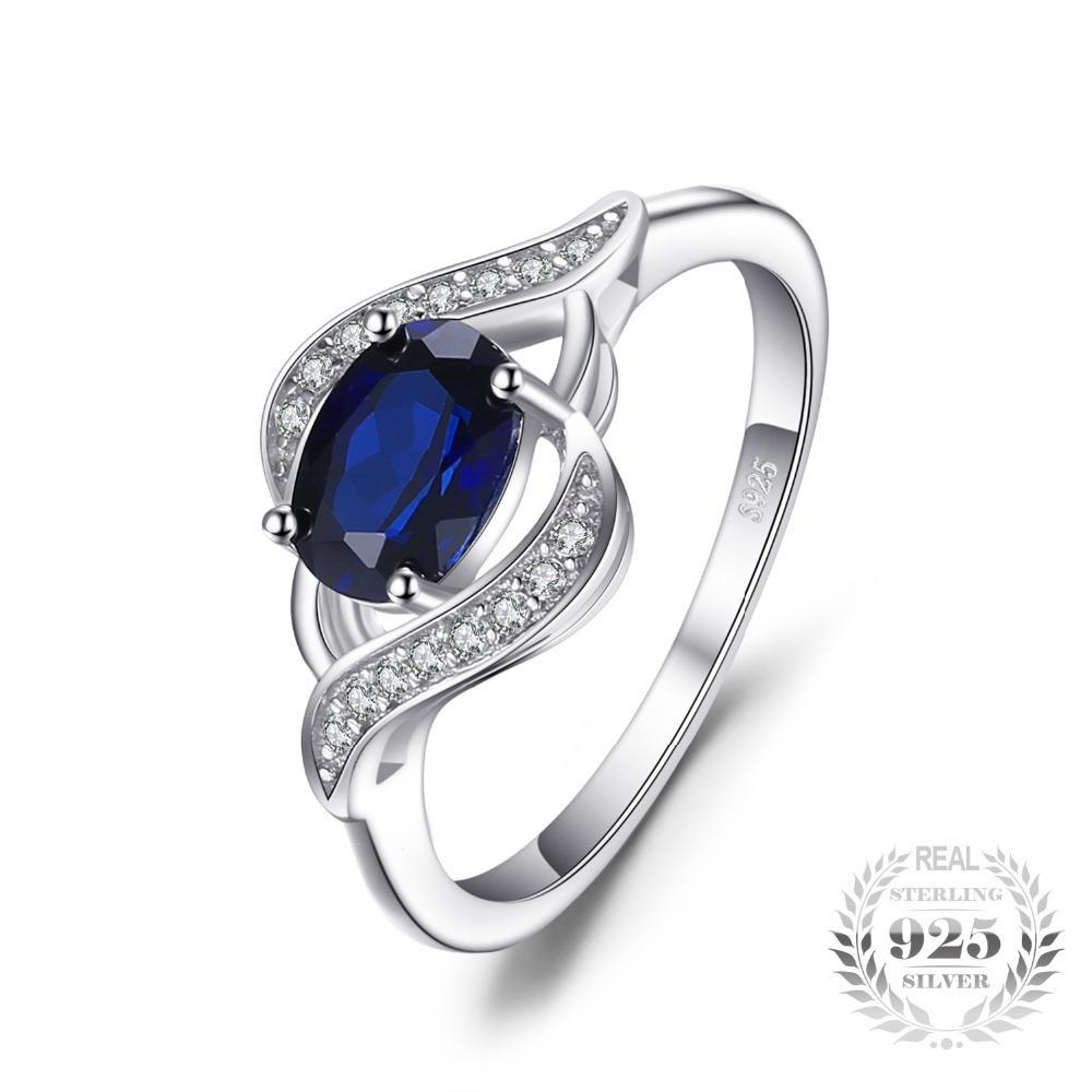 Sterling Silver 1.1ct Created Blue Sapphire Statement Ring