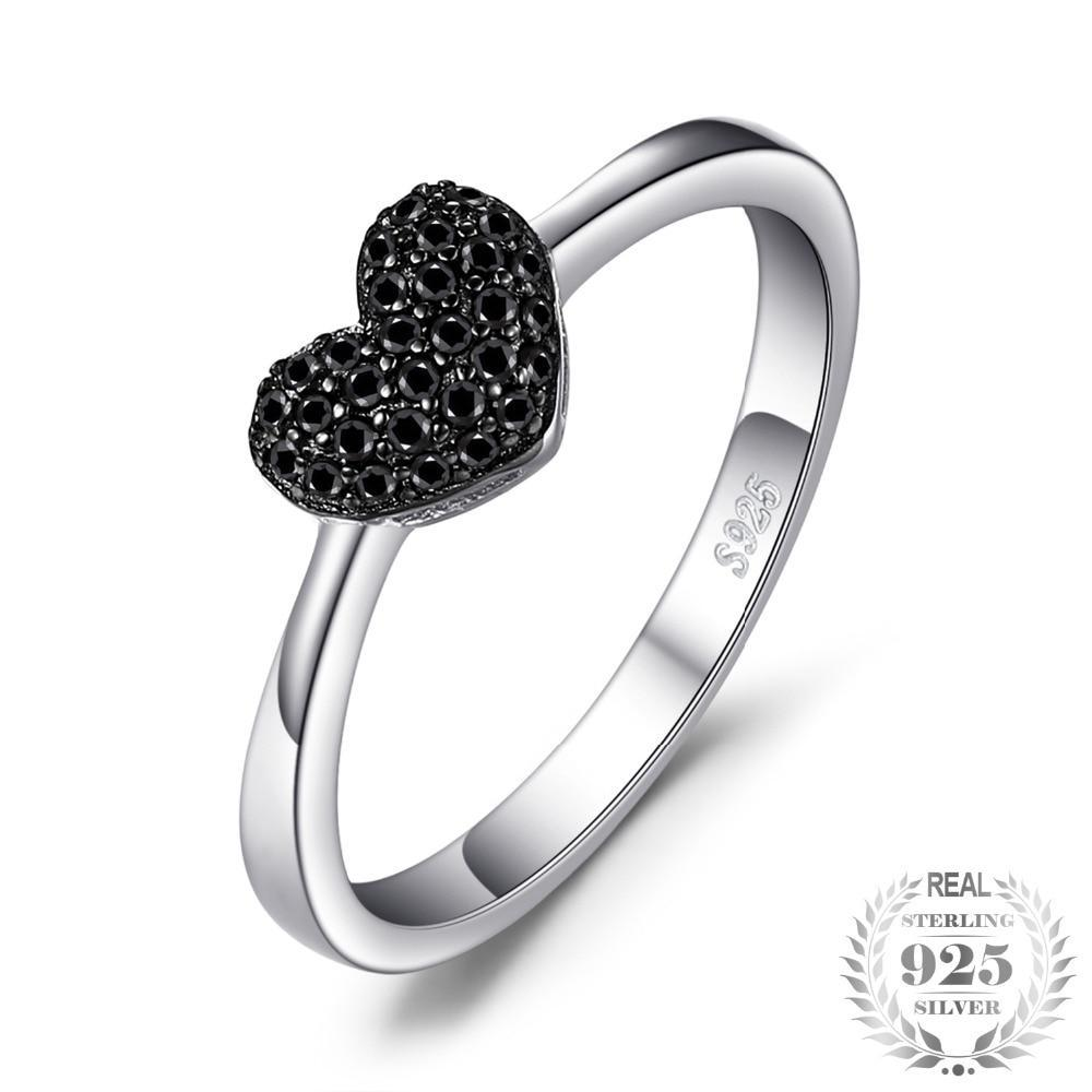 Sterling Silver Natural Black Spinel Heart Ring