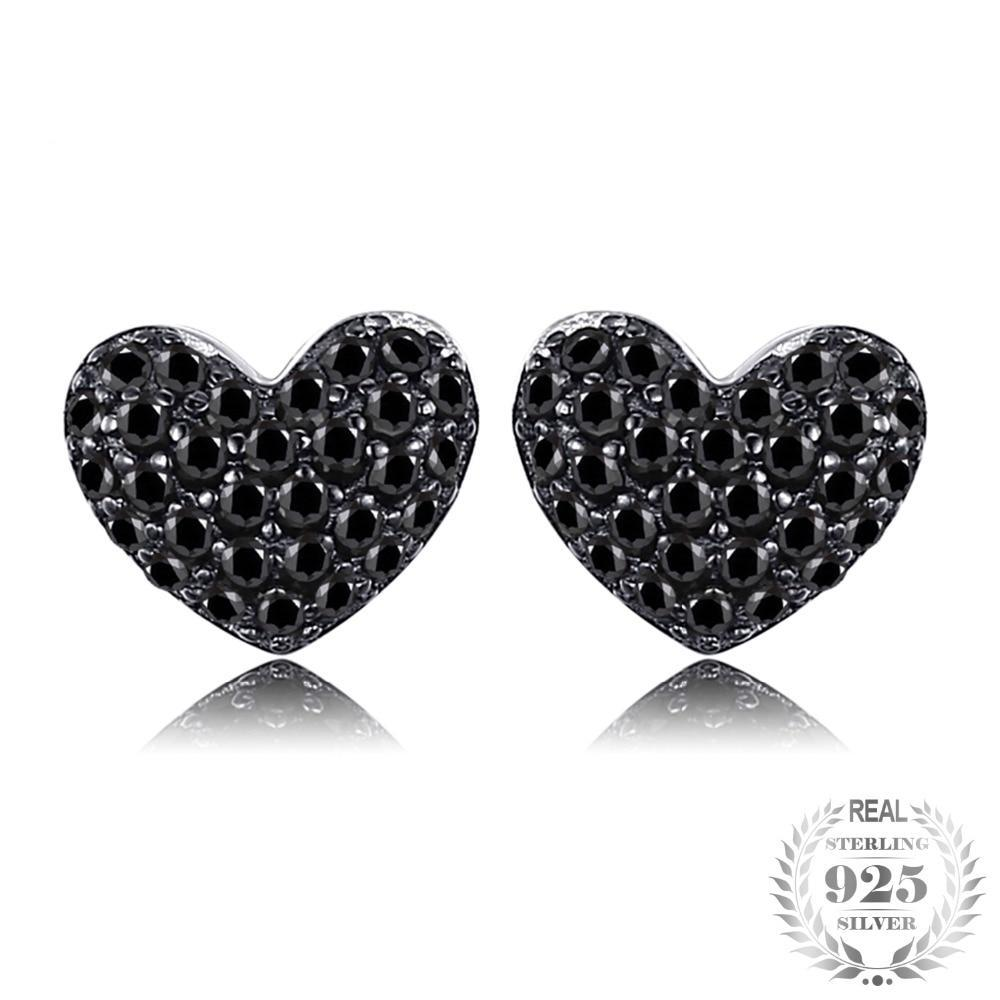Sterling Silver Natural Black Spinel Heart stud Earrings