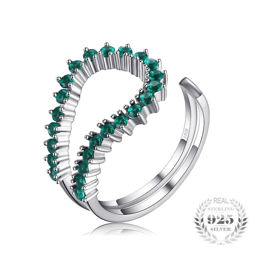 Sterling Silver Emerald Open Ring