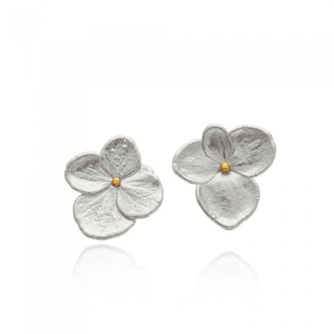 Petals Hydrangea Earrings - Silver / Gold