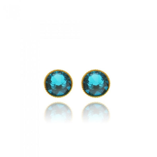 Crystal Stud Earrings - Cyan
