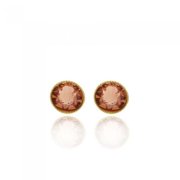 Crystal Stud Earrings - Peach