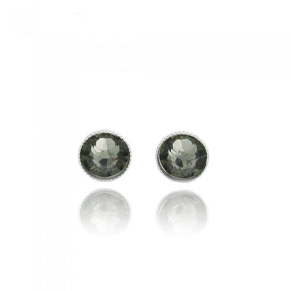 Crystal Stud Earrings - Grey