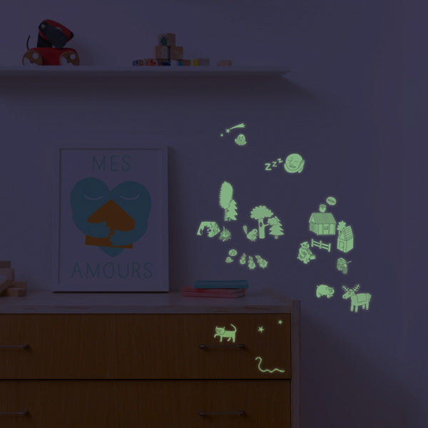 Planches de stickers phosphorescents nature