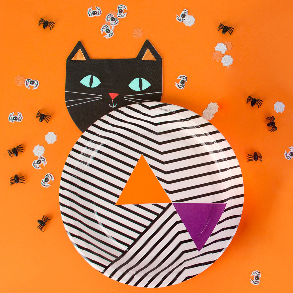 Halloween - 16 petites serviettes chat