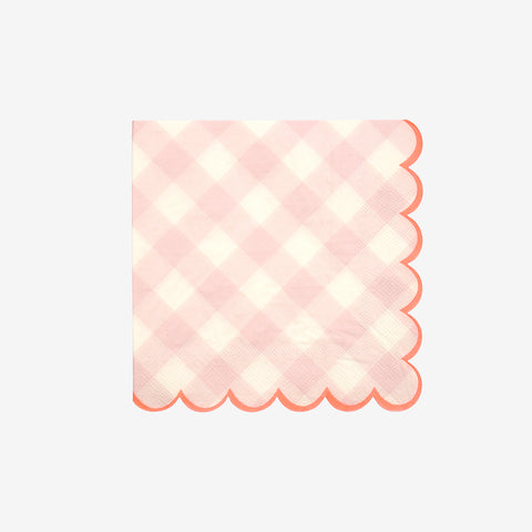 20 serviettes - Vichy rose