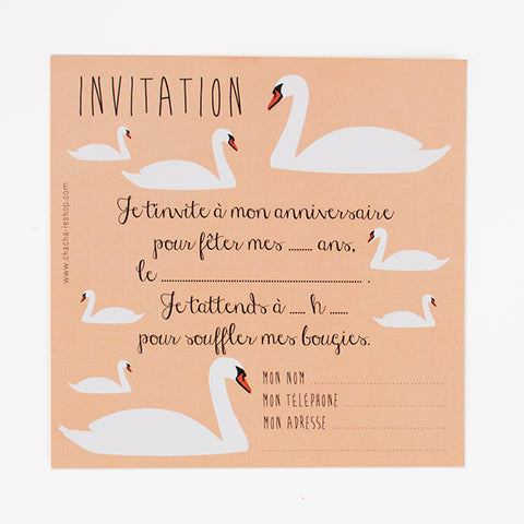 8 cartons d'invitation - Cygne