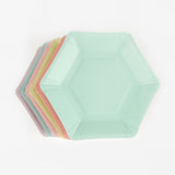 12 assiettes hexagonales - pastel