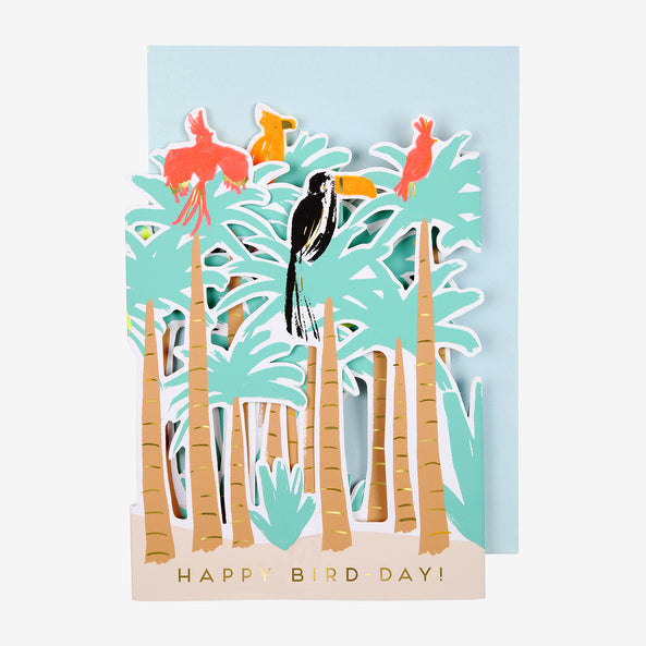 1 carte pop up - Oiseaux tropicaux