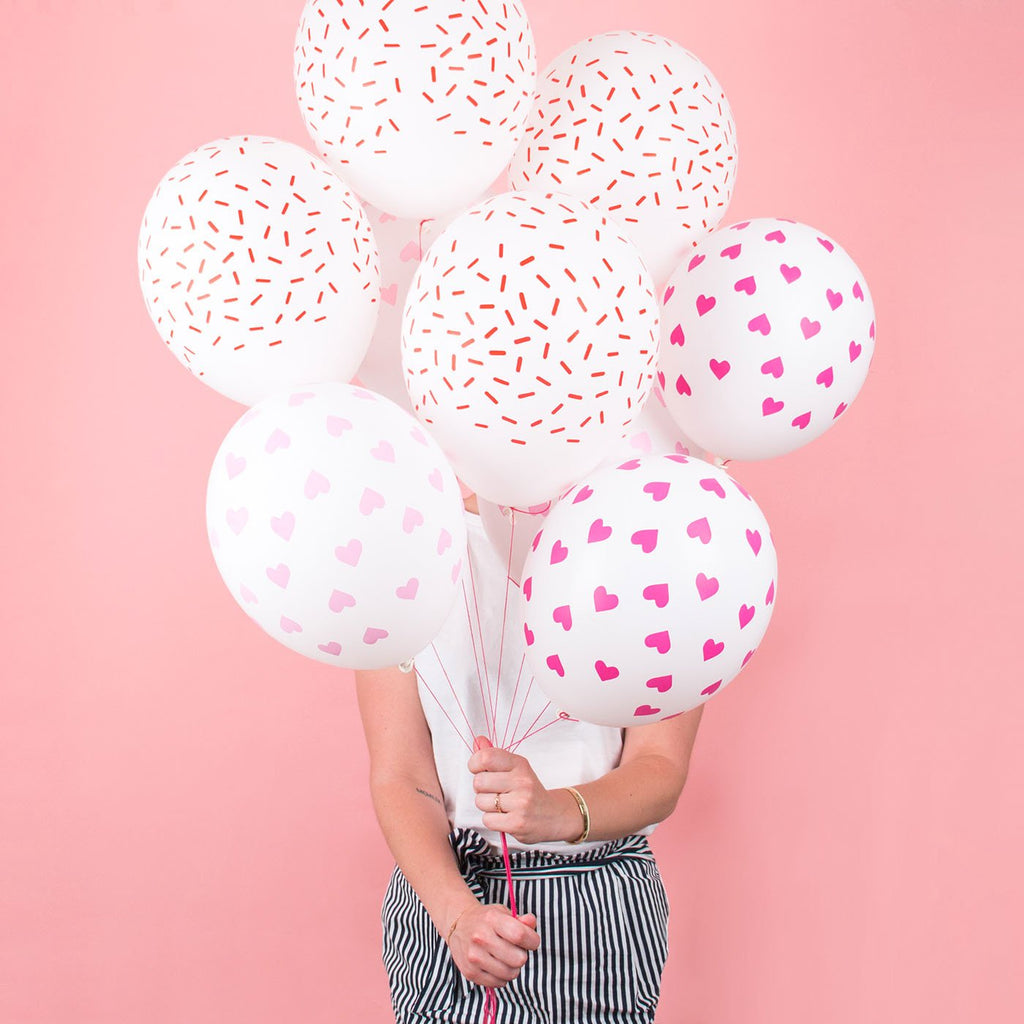 Ballons de baudruche en latex imprimé coeurs rose de My little Day