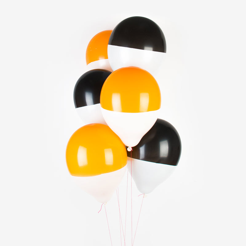 6 Halloween Pastel Black With Gold Bats Biodegradable Latex Balloons Decorations