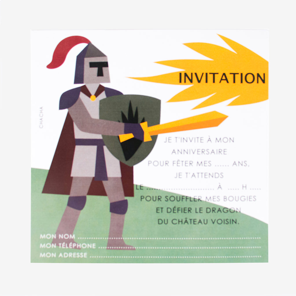 8 cartons d'invitation - Chevalier - My Little Day