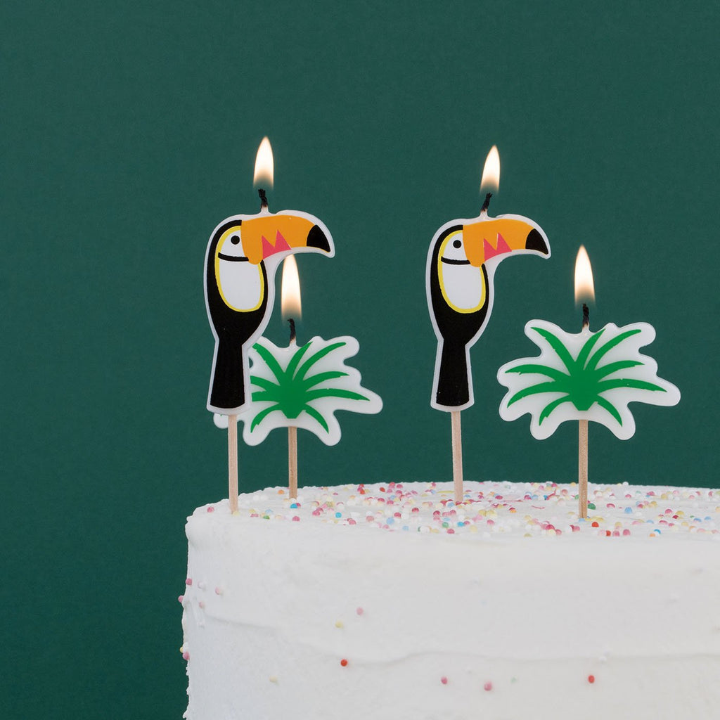 Bougies toucans My Little Day pour decoration gateau d'anniversaire tropical.