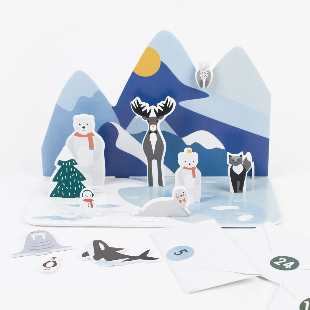 Calendrier de l'avent animaux polaires my little day : 24 figurines en carton