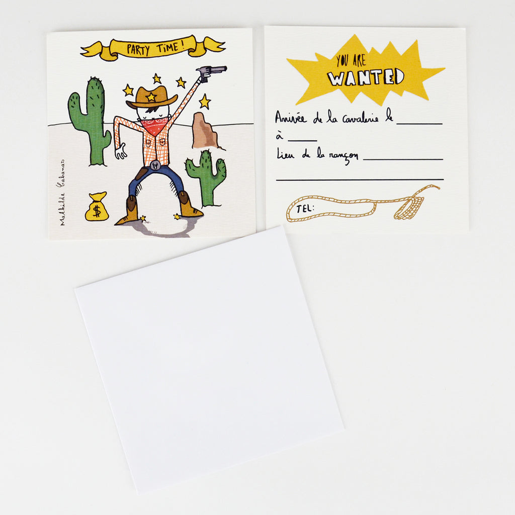 Invitation anniversaire : 6 invitations Cow-Boy