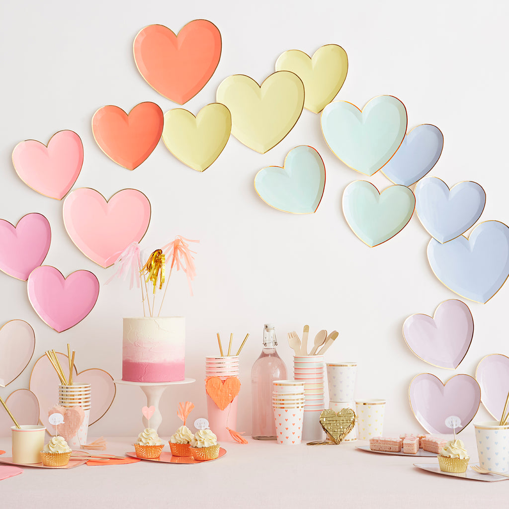 Set de 8 assiettes coeurs - Pastel - My Little Day